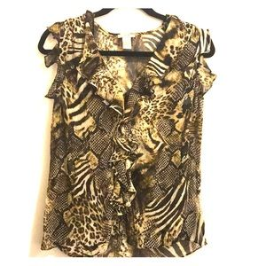 Animal Print Cache Blouse